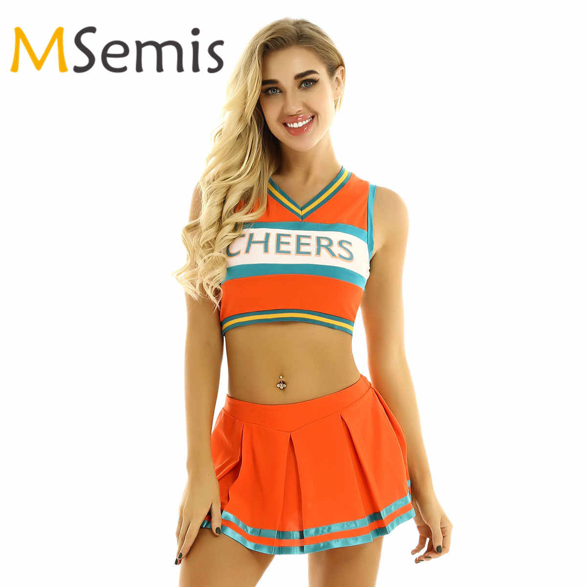 Frauen Cheerleading Sport Uniform Cheerleader Kostüm Cosplay Outfit Ärmel Crop Top mit Mini Plissee Rock für Tanzen