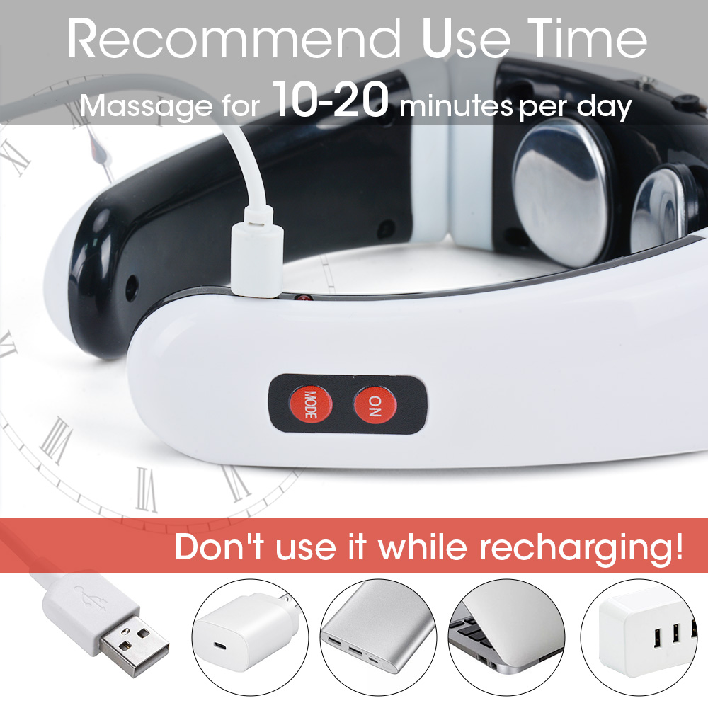 Rechargeable /Battery Electric Neck Massager& Pulse Back 6 Mode Power Control Infrared Pain Relief Neck Physiotherapy Instrument 6