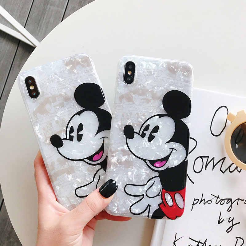 Para O Iphone 6 7 8 S Plus X XR XS XSMAX Encantador Dos Desenhos Animados Mickey Mouse Shell Telefone Celular Caso Modelado macia Capa de Silicone Anti-Poeira