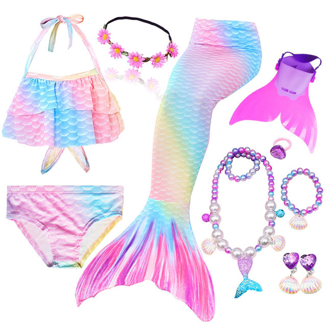 Girls Swimming Mermaid Tail Cosplay Mermaid Costume Swimsuit With or No Monofin Fin Flipper Kids Swimmable Children Swimwear Set