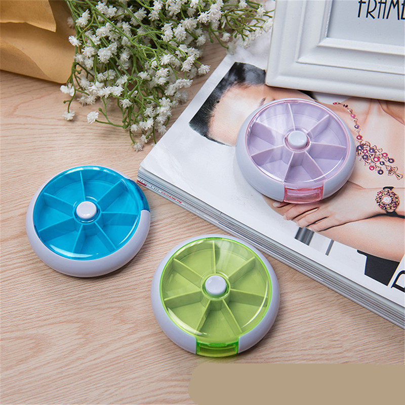 Image 5 - Weekly Rotating Pill Box Travel Pill Case Splitter Pill Organizer Medicine Box 7 Day Pill Cutter Tablet Container-in Pill Cases & Splitters from Beauty & Health