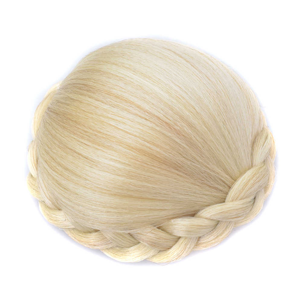 Soowee 6 Colors Hairpieces Braided Chignon Blonde Fake Hair Bun Clip Donut Bun Cover Hair Pieces for Women Scrunchy