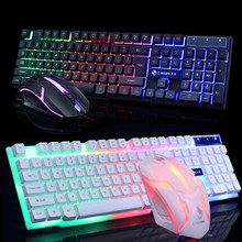 Wired Gaming Keyboard RGB Backlit Keyboard With Gaming Mouse Set Russian Keyboard Mouse Gamer Kit For Computer Game PC Laptop