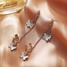1pcs/set Butterfly Clips on Earrings Women Silver Color Long Tassel Chain Female Punk Ear Cuff Clip Jewelry