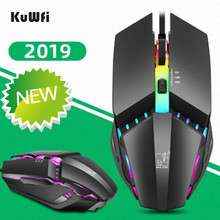 KuWfi Wired Gaming Mouse USB Colorful Lighting Game Mouse 1600DPI Professional 4 Button Computer Mouse for PC/Laptop цена и фото