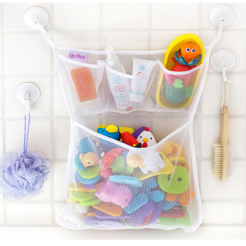 Baby Shower Bath Toys White Baby Kids Toy Storage Mesh With Strong Suction Cups Toy Bag Net Bathroom Organizer