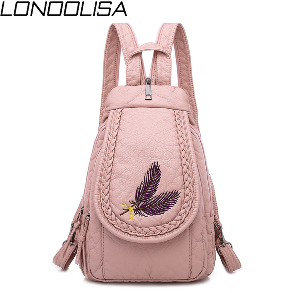 Fashion Ladies Embroidery Small Backpack High Quality Soft Washed Leather Girls Backpack Multifunc Bagpack Mochilas Mujer 2019