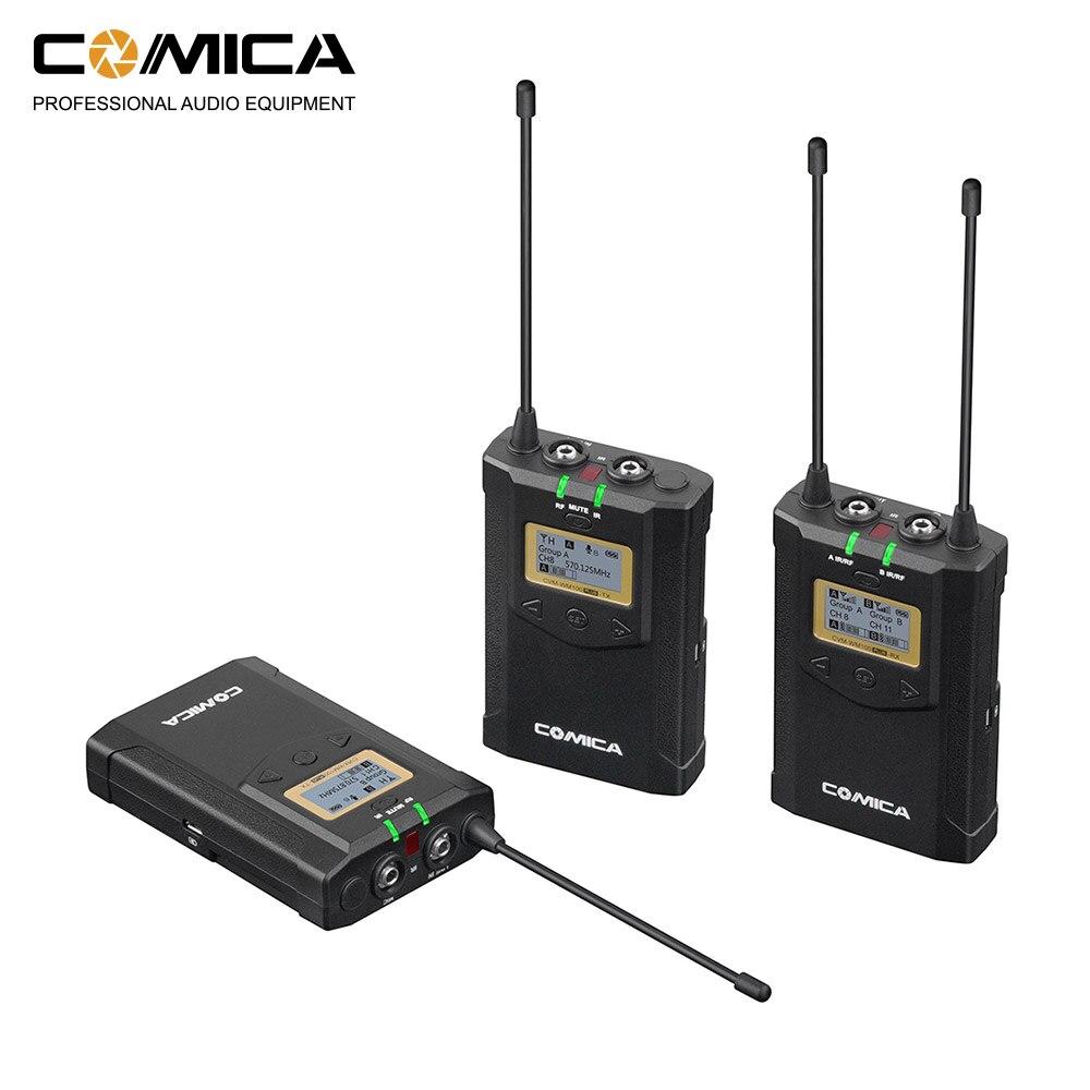 CoMica CVM-WM100 PLUS UHF 48 canaux sans fil double Lavalier système de Microphone pour Canon Nikon Sony Panasonic appareil photo reflex numérique