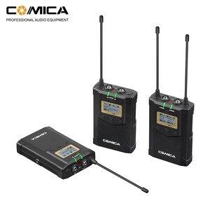Image 1 - CoMica CVM WM100 PLUS UHF 48 канальная Беспроводная двойная петличная микрофонная система для цифровых зеркальных камер Canon Nikon Sony Panasonic
