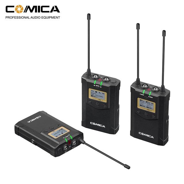 CoMica CVM WM100 PLUS UHF 48 канальная Беспроводная двойная петличная микрофонная система для цифровых зеркальных камер Canon Nikon Sony Panasonic