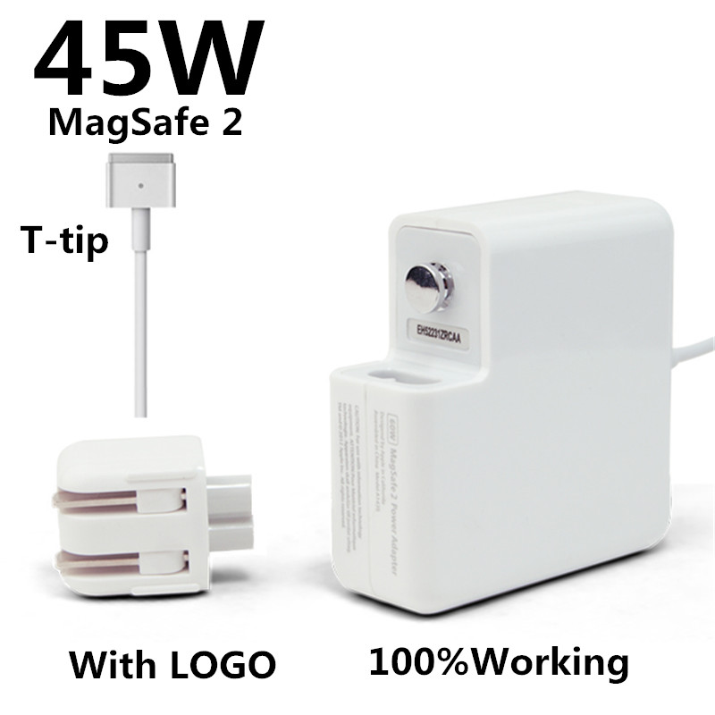 New! with logo oem t-tip 45w laptop magsaf* 2 power adapter charger for apple macbook air 11'' 13'' a1436 a1465 a1466