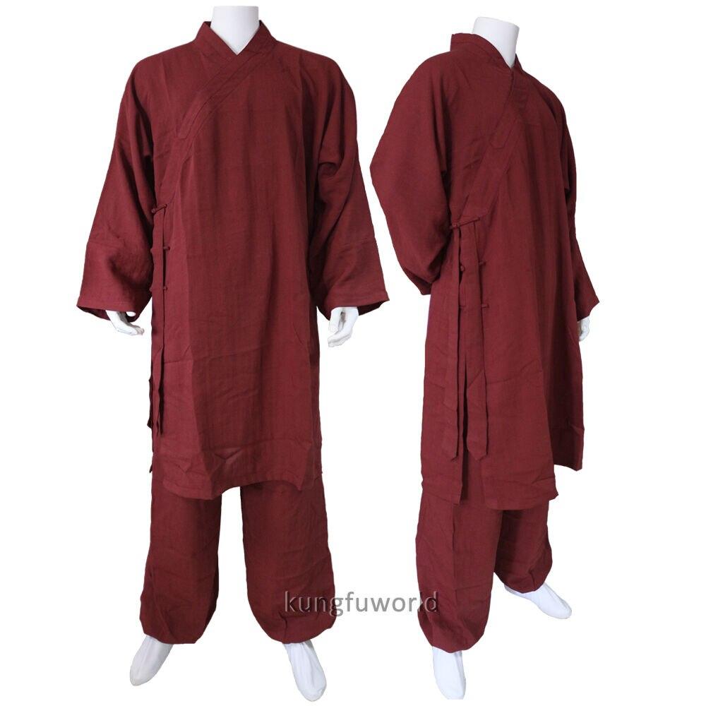 Custom Make 25 Colors Linen Shaolin Uniform Buddhist Monk Kung Fu Martial Arts Suit Tai Chi Wing Chun Wudang Taoist Clothes