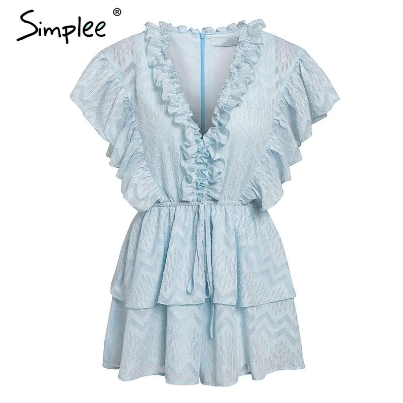 Simplee Elegant v neck ruffled blue women romper Summer short sleeve sashes chiffon jumpsuits Casual sweet ladies overalls 2019