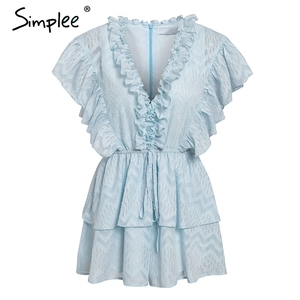 Image 5 - Simplee Elegant v neck ruffled blue women romper Summer short sleeve sashes chiffon jumpsuits Casual sweet ladies overalls 2019