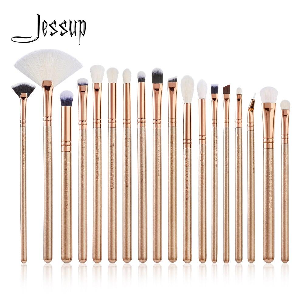 Набор кистей для макияжа Jessup, 18 шт., золотой/розовое золото, лайнер для смешивания теней для век, хайлайтер, кисти для основы, косметические н...