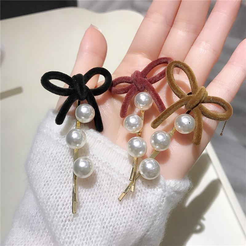 2020 New Korea Style Girly Sweet Hair Clip Simple Cute Imitation Pearl Hairpin Bow Barrettes For Women Fashion Hair Accessories