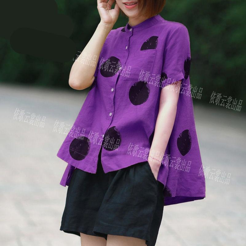 Women Fashion Elegant Casual Look Shirt Female Tops Cute Polka Dot Print Weekend Blouse Summer Single Breasted Shirt and Blouse 14