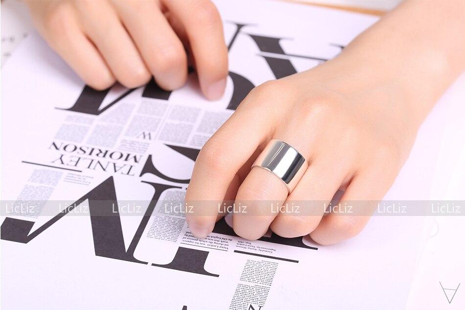 H8470238ea0844005a004b14c99500b69J LicLiz 2019 925 Sterling Silver Big Open Adjustable Ring for Women Men Plain White Gold Jewelry Joyas de Plata 925 Bijoux LR0329