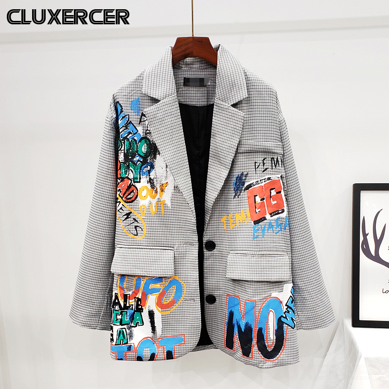 Streetwear Style Plaid Suit Blazer Jacket Women Chic Graffiti Print Coat Female Korean Suit Outerwear