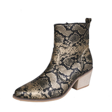 6cm Heel Women Zipper Boots Snake Print Ankle Square Fashion Pointed Toe Ladies Sexy Shoes 2019 New Chelsea
