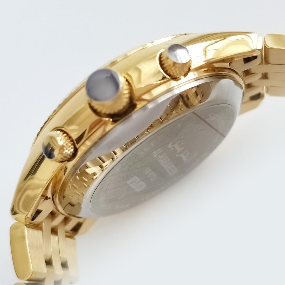 Montre dorée musulmane Alfajr temps 33.5mm cadran rétro éclairage en acier inoxydable japon mouvement ATM 3 Azan horloge avec alarme de prière-in Montres à quartz from Montres    2