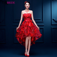 Red Gorgeous Lace Wedding Party Dress Plus Size Elegant Strapless Sexy Backless Sleeveless Formal Evening Gowns for Women ES1167