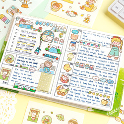 Mohamm 10Pcs Summer Series Stickers Decoration Cartoon Handbook Diary DIY Creative Stationary School Supplies