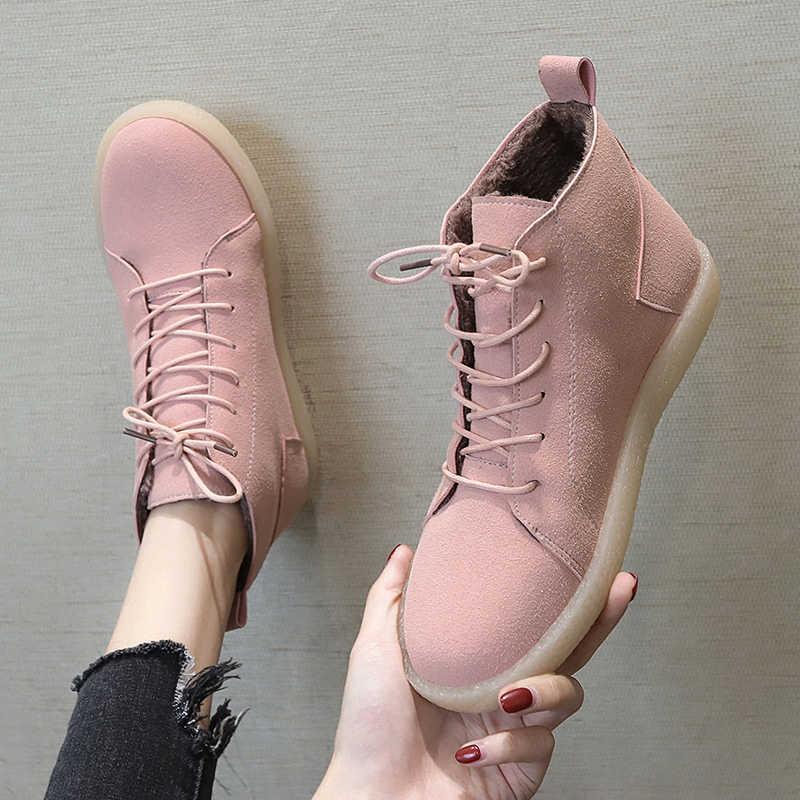 Fujin kadın botları kış peluş sıcak kürk moda süet deri yumuşak ayak bileği kauçuk nefes düz patik rahat kadın kar botları