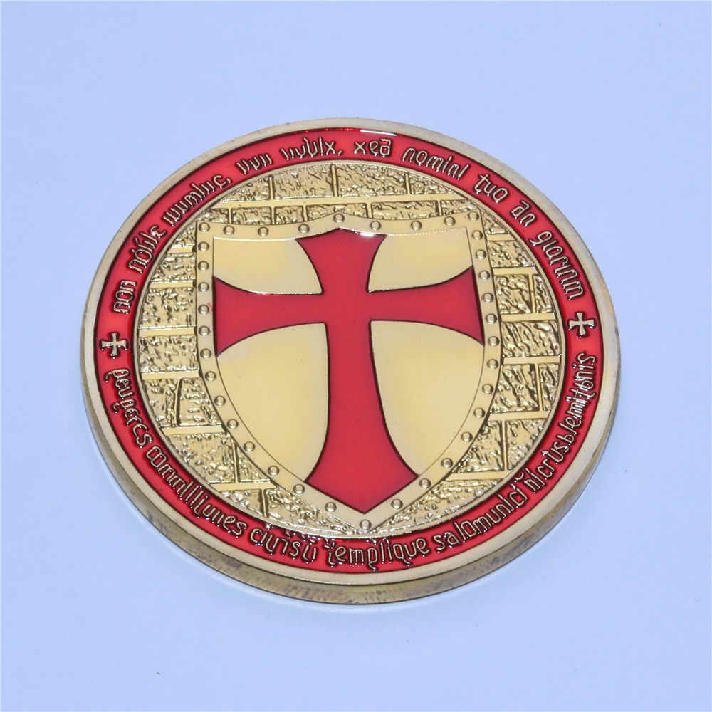 10 pièces/lot livraison gratuite, francs-maçons templiers avec croix rouge couleur émaillée or plaqué chevalier templier russie pièce