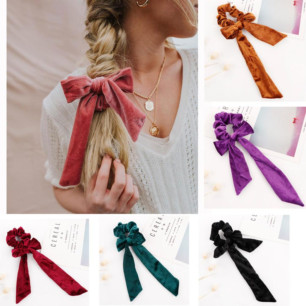 The New  Bow Scrunchie The Fashion Velvet Hair Rope For Women Simple And Generous Handmade Daily Hair Accessories