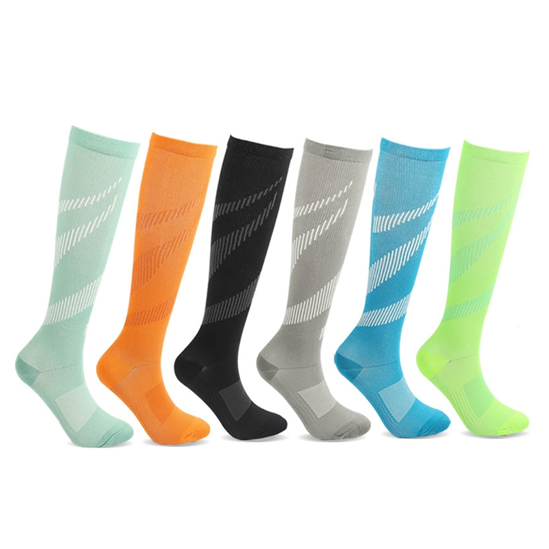 Socks Sports Compression Color Men Socks Women Casual Nylon  Bright Blue Black Gray Red Pink S-XL Hosiery Footwear Accessories