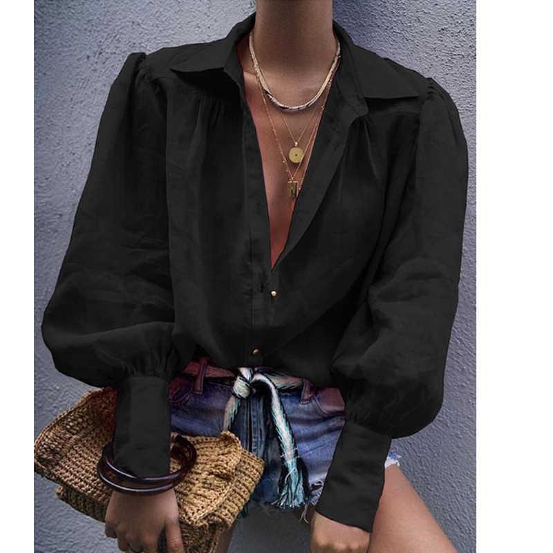 VIEUNSTA 秋セクシーなノッチ襟エレガントなオフィスレディースブラウス女性ランタン長袖ルーズシャツ固体ボタントップスブラウス