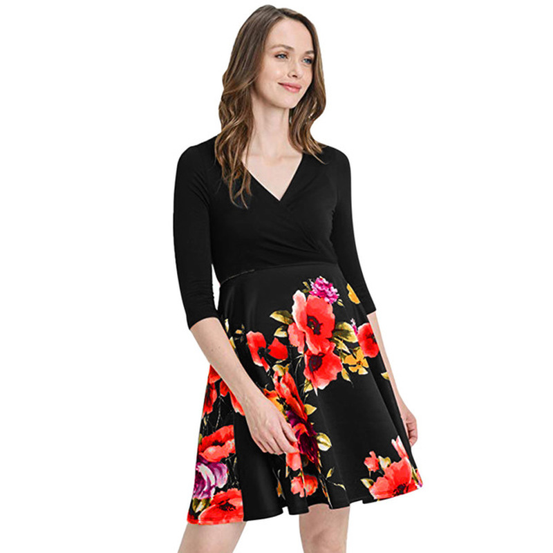 2019 New Dress Summer Women Plus Size Clothes Short Sleeve Pregnant Maternity Flower Sexy for