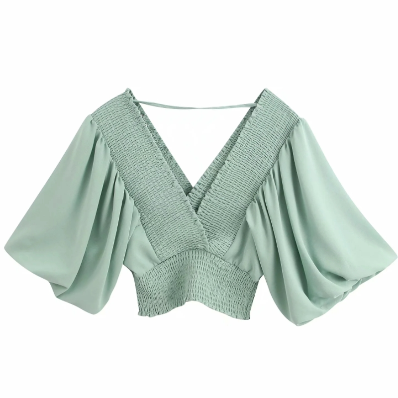Women Solid V Neck Elastic Casual Short Smock Blouse Ladies Lantern Sleeve Chic Kimono Style Chemise Femininas Shirt Tops LS6443