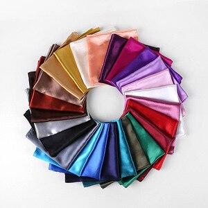 25Colors Fashion Women Silk Square Scarf 90*90cm Satin Scarves Solid Wraps Autumn Winter Luxury Satin Scarves Muslim Head Scarf