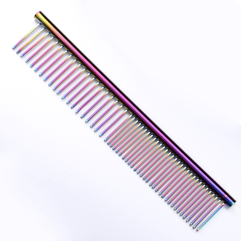 Metal Comb Needle Dog Comb Professional Steel Hair Trimmer Stainless Steel Stripe Grooming Comb Dog Cat Cleaning Grooming Tool