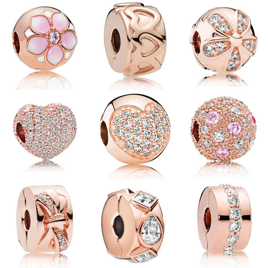 2020 Classic 925 Sterling Zilver Rose Goud Daisy Clip Charm Fit Padnora Armband Fijne Hart Crystal Clip Charm Diy Sieraden