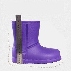 Image 4 - Bottes de neige femme 2019 hiver femmes bottine imperméable grande taille plat pluie chaussons garder au chaud dames chaussures coton Botas mujer