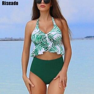 Riseado Push Up strój kąpielowy kobiety stroje kąpielowe Bikini Set 2020 Bikini wysokie w talii Halter Bikini wzburzyć Bikini Plus rozmiar XXL