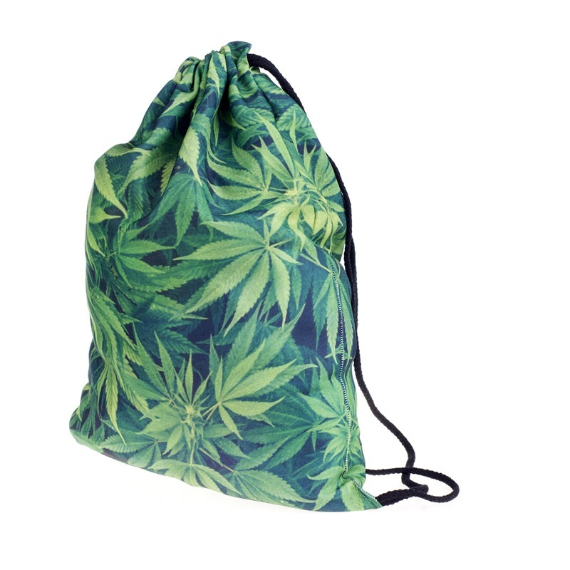 New Fashion Women Green Leaf Drawstring Backpack 3D Printing Travel Softback Women Mochila Drawstring Bags