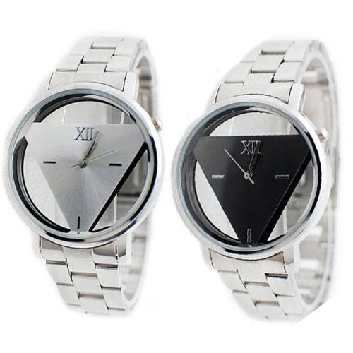 Men Women Fashion Silver Color Stainless Steel Triangle Dial Quartz Wrist Watch saati reloj <font><b>mujer</b></font> women Watch Ladies Wrist Watch image