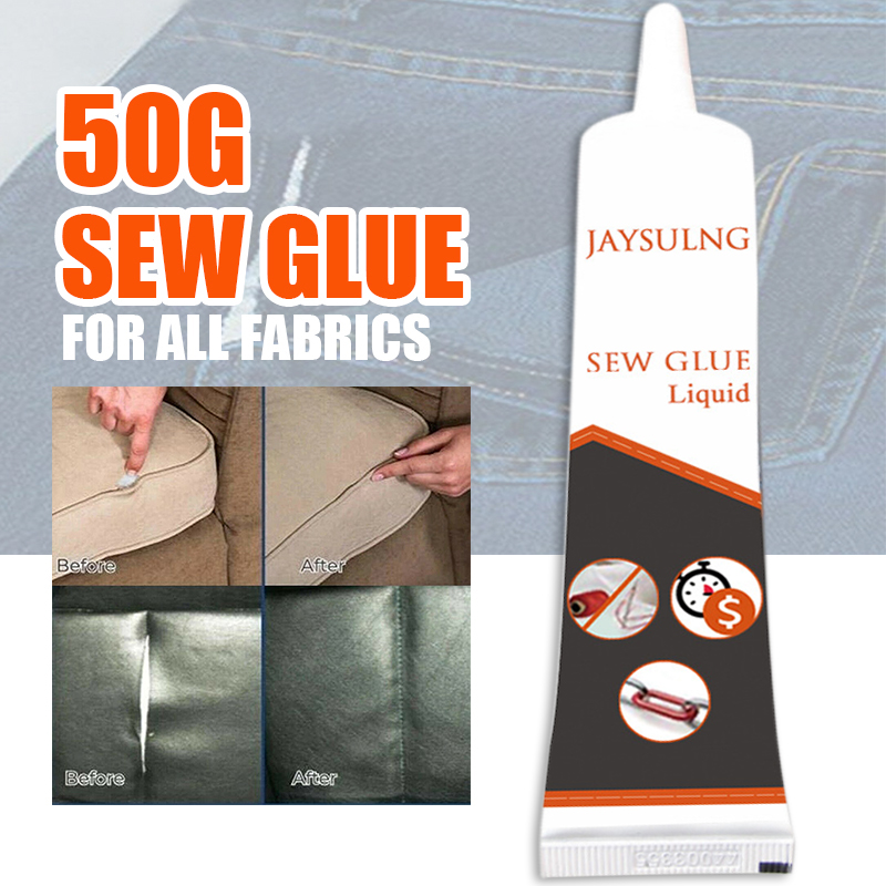 50g Fabric Adhere Sew Glue Cloth Safe Liquid Glue Sewing Set Repairing For Clothes Denim Leather All Fabric DIY Handcraft Gifts
