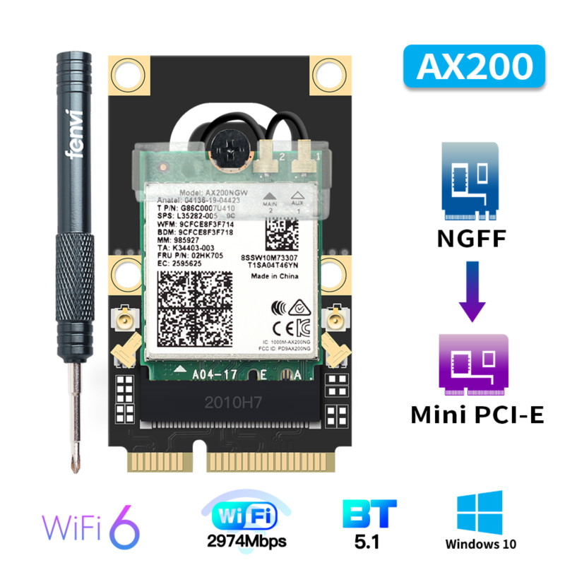 50pcs Mini PCI-E Wi-Fi6 Adapter Wireless 2974Mbps Bluetooth 5.0 Intel <font><b>AX200</b></font> Wifi Card AX200NGW 802.11ax/ac 160Mhz 2.4G/5G image