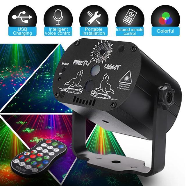미니 RGB 디스코 조명 효과 LED 무대 레이저 프로젝터 레드 블루 그린 램프 USB 충전식 웨딩 생일 파티 라이트