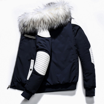 High Quality Men's Winter Fashion Parkas Thick Wadded Jacket Coat Male Casual Fur collar Warm Patchwork Outerwear Down Overcoat
