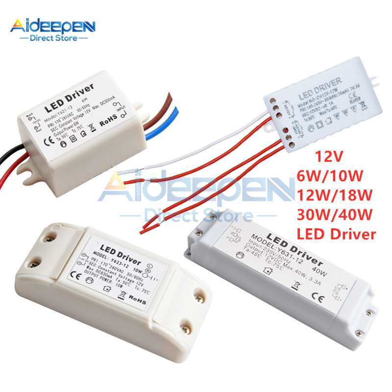 DC <font><b>12V</b></font> 6W 10W 12W 18W 30W <font><b>40W</b></font> 50/60Hz LED Driver Transformer High Quality <font><b>Power</b></font> <font><b>Supply</b></font> Adapter For Led Lamp LED Strip Downlight image