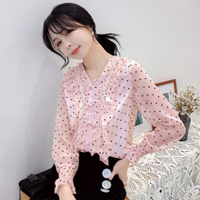 korean fashion woman blouses OL shirt elegant women chiffon ruffle shirt plus size autumn women V-neck dot shirts blouses blusas цена и фото