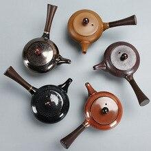 цена на Glaze Kiln Ceramic Teapot Chinese Style Retro Temmoku Glaze Single Tea Tea Pot Oolong Tea Blooming Tea Teapot Set Tea Glass Cup