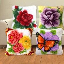 Serie de plantas, almohada bordada, flores, hierba, lana gruesa, punto de cruz, 3D gancho de cierre, bordado para alfombras, juego de aguja de lengüeta DIY