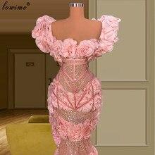 Haute Couture 2021 Rose Longues Robes de Soirée Sirène Bretelles Fleurs Robes de Célébrités Tenue De Soirée Mariage вечерние платья